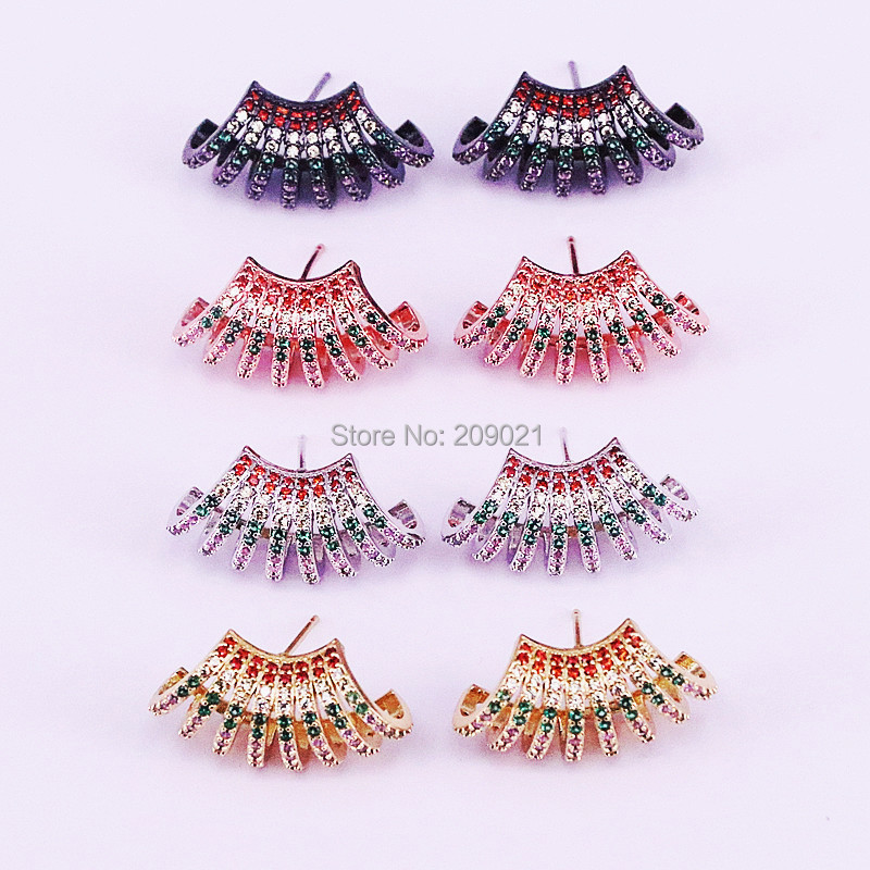 5Pairs paved multi color rainbow cz gold Fan shape stud earring fashion gorgeous women lady gift