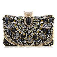 Clutch Sequin Bead Chain Strap Evening Craft Embroider Embellish Vintage Black