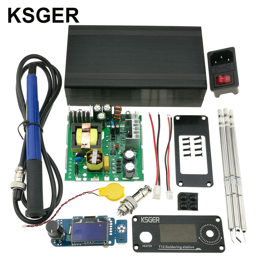 KSGER T12 DIY KIts Soldering Station STM32 V2 1S OLED Temperature Controller Tools T12 Iron Tips