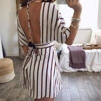 Summer Beach Striped Sundress Sexy Deep V neck Party Club Dress Tie Up Backless Dress Buttons 2018 Elegant Women Dresses