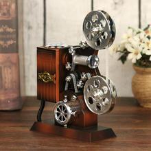 Ретро фильм проектор музыкальная шкатулка дерево металл антикварные музыкальные коробки подарок на день рождения игрушка для детей Винтаж свадьба украшение дома