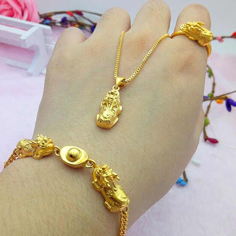 Vietnam Alluvial Gold Healthy Material Women Jewelry No Fade Brass Golden Pixiu Round Circle Bracelets Charms Luxury Jewelry