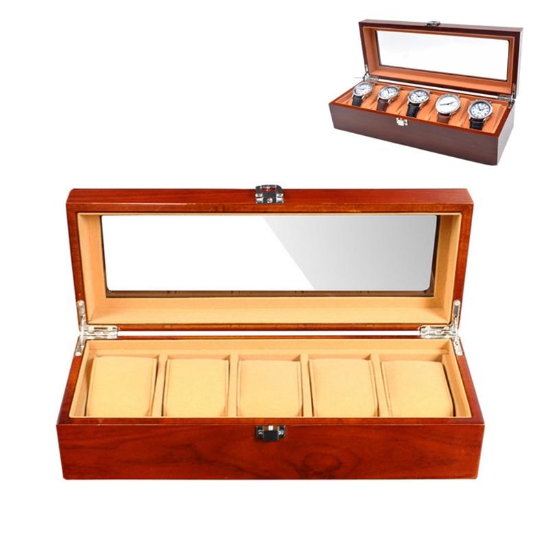 5 grille en bois montre boîte mallette de rangement organisateur bijoux affichage haut-grad cadeau rétro luxe montre-bracelet boîtier bois montres boîte nouveau