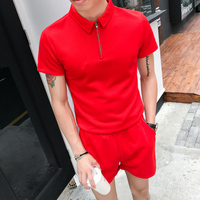 New Men Set Red Casual T Shirt Suit Hit Color Slim Fit Polo Shorts Two Piece Costume Homme Fashion Tracksuit 2019 Etement Homme