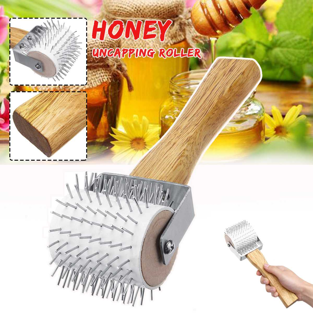 Pro/'s Choice Best Honeycomb Uncapping Plastic Needle Roller  With Wooden handle.