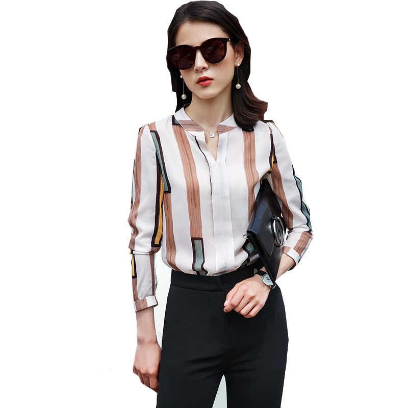 77ce5abb77f ... De las mujeres de la moda trajes de negocios diseño de rayas blusa  elegante pantalones 2 ...