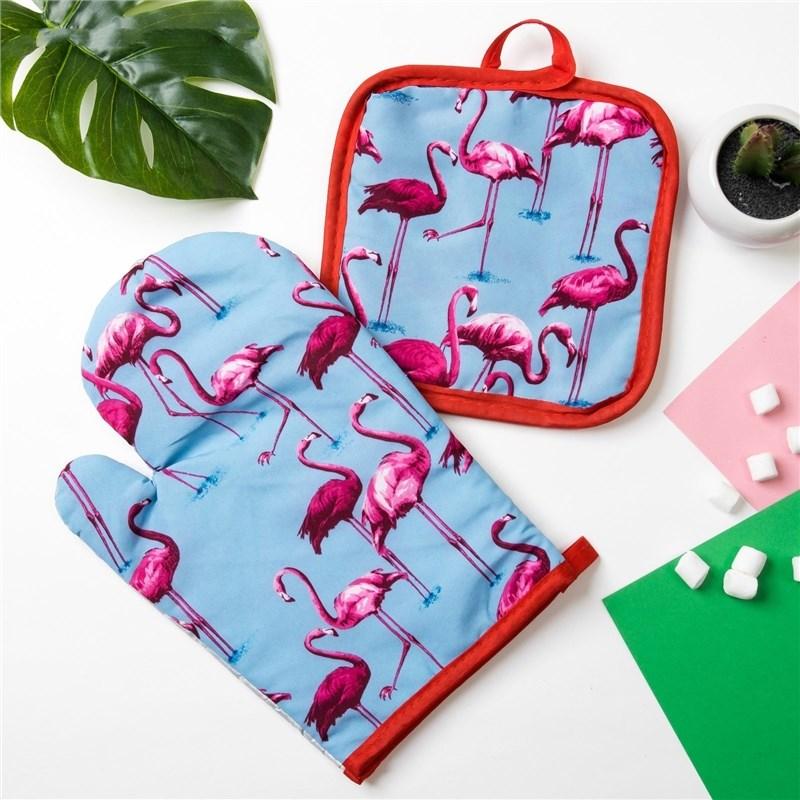 Кух. Set of 2 PR. Доляна Flamingo Col. blue, potholder 16*16 cm, mitten 26*16 cm, 100% N/e 384062 кух set of 2 pr доляна flamingo col green potholder 16 16 cm 2 pcs 100% n e 3840631