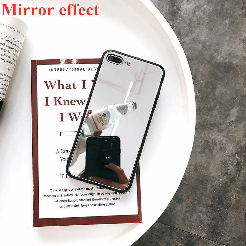 5dede581fcc Luxury Mirror Case For iPhone6 6S 7 8 Plus Tempered Glass Back Cover For  iPhone X