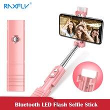 Мини селфи-палка RAXFLY с Bluetooth для iPhone 7, 8 Plus, светодиодный селфи-палка со вспышкой, складной монопод, штатив для samsung XiaomiHuawei