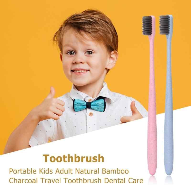 Portable Kid Adult Toothbrush Natural Bamboo Charcoal Travel Environment Dental Care Baby Tooth Care 2019 New Random Color clean