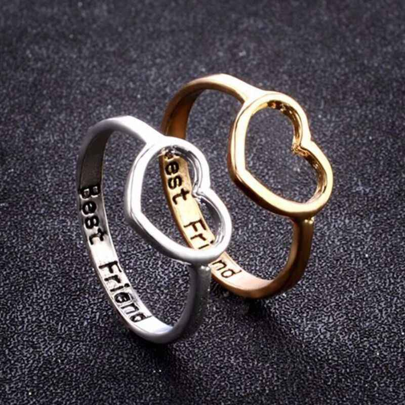 Love Heart Rings Best Friend Ring Gifts For Girls Friendship Jewelry BFF Women Heart Shaped Wedding Ring for Woman