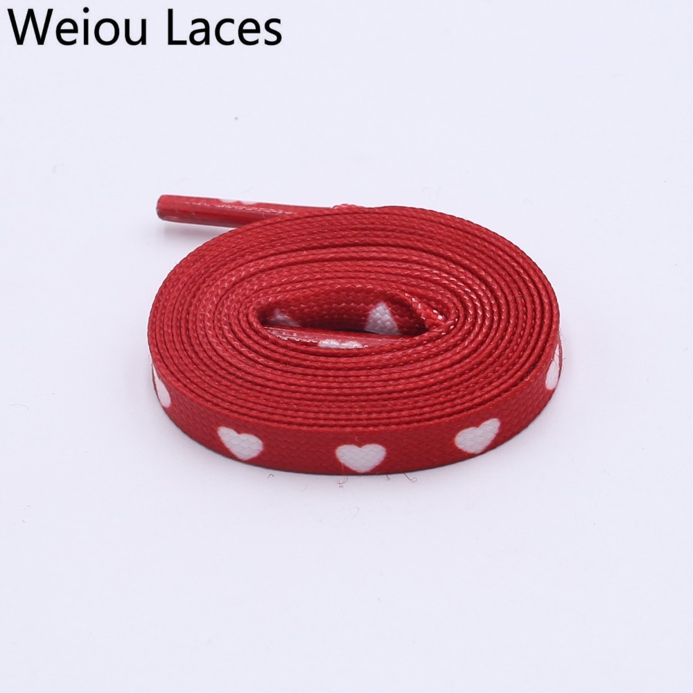 Weiou New 0.7cm Polyester Double Hollow Flat Printed Red White Heart Sublimated Heat Transfer Shoelace Digital Print Bootlaces