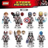 Строительный блок X0251 8 шт./компл. Высокое качество серии героев Мстители 4 конца игры космический костюм игрушки для детей Совместимые Legoing