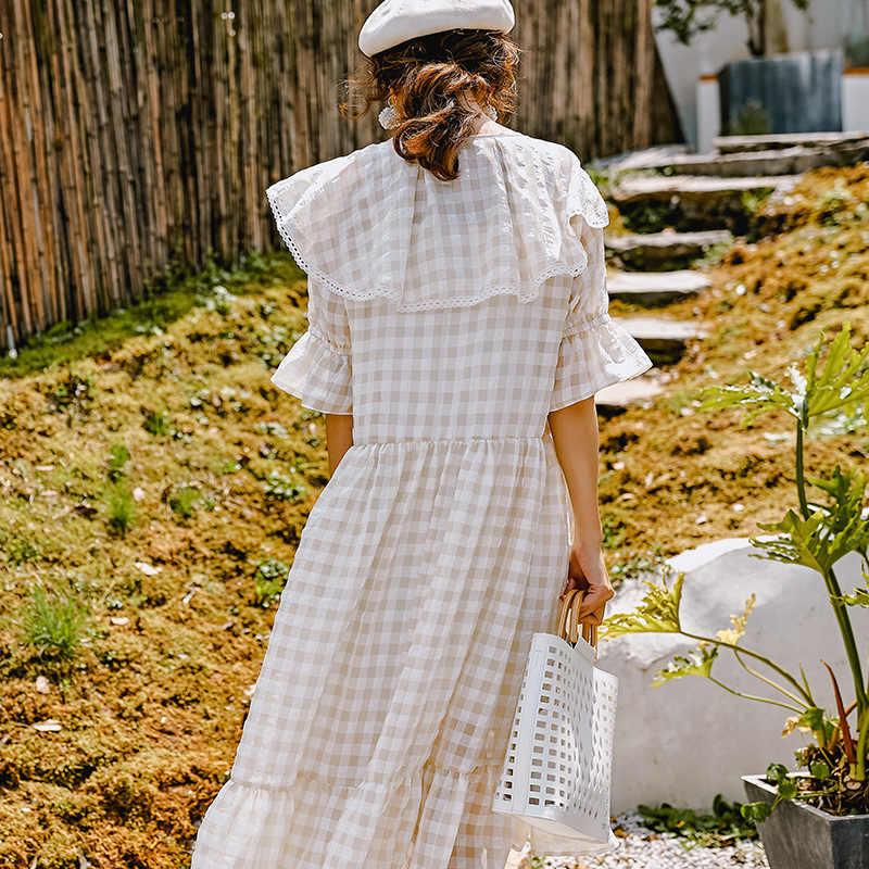 LANMREM Hubble-bubble/летнее женское платье с короткими рукавами, бежевое клетчатое Повседневное платье в стиле пэчворк с оборками, 2019 модная новинка, YH28012