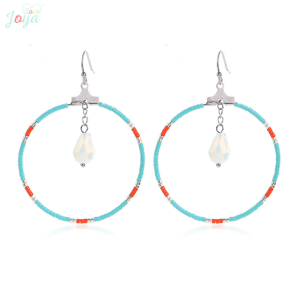 Badu Stainless Steel Earrings For Women Fashion Ethnic Big Circle Hollow Dangle Jewelry Gift brinco