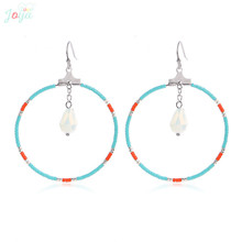 Badu Stainless Steel Earrings For Women Fashion Ethnic Big Circle Hollow Dangle Jewelry Gift brinco