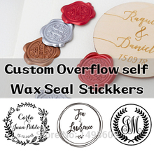 Custom overflow Self Adhesive Wax Seal Stickers, wedding wax stamp, envelope seal,  invitation stickers ,23 Color Available