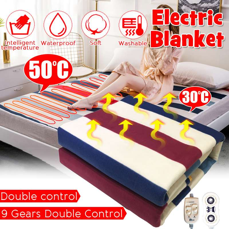 Household  Flannel Electric Blanket Heater 180*150cm/200*180cm Adjustable Heated Blanket Thermostat Electric Heating Blanket