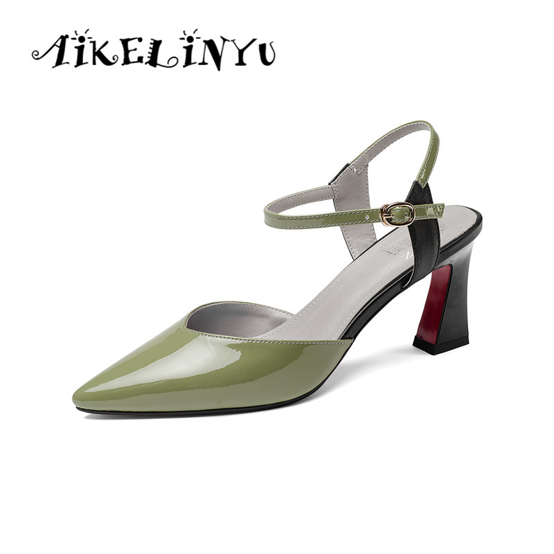 AIKELINYU Summer Genuine Leather Women Sandals Pointed Toe High Heel Shoes Green Sexy Fashion Girls Woman