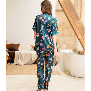 Image 4 - 2019 Phụ Nữ Đồ Ngủ Bộ Với Quần 3 Mảnh Lụa Mỏng Quần Áo Ngủ Pijama Nhà Quần Áo Satin Thời Trang Hoa In Pijama Ngủ