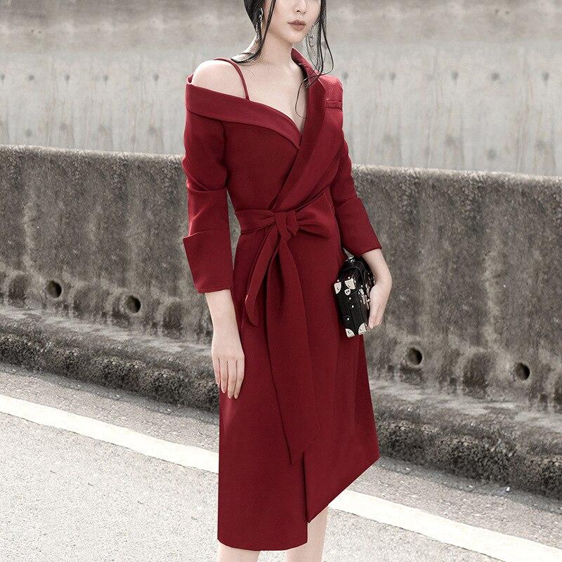 EWQ 2019 Spring Autumn New Pattern Asymmetrical Long Sleeve Chalaza Waist Woman Chic Temperament Strapless