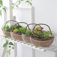Garden Rattan Simulation Plant Decorations Plants Indoor Desktop Pot Fake Grass More Meat Bonsai Ceramic Small Ornaments