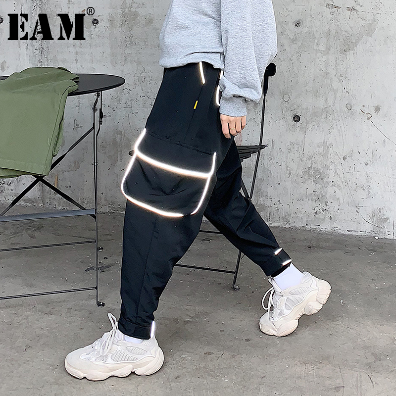 EAM 2019 New Spring Summer High Elastic Waist Loose Illuminate Big Pocket Wide Leg Pants