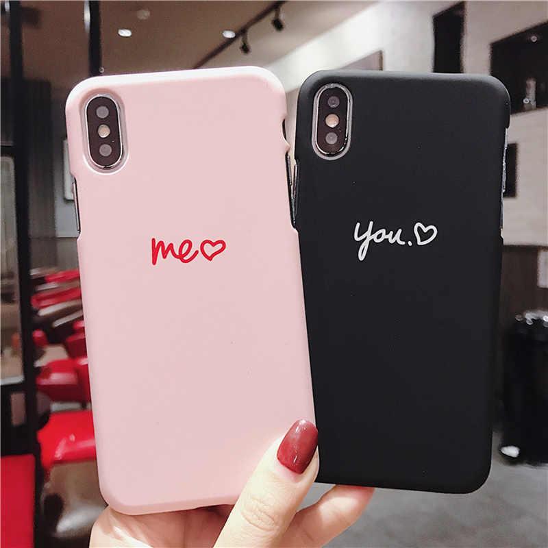 Lovebay Ponsel Case untuk iPhone 6 6 S 7 7 Plus X XR X Max 5 5 S SE Fashion lucu Kartun CINTA Jantung Keras PC untuk iPhone X Beberapa Kasus
