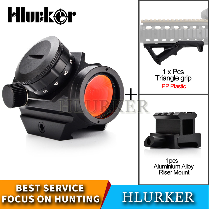 Hlurker Hunting Airsoft M4 AR15 Air Rifle Micro Holographic Red Dot Collimator Riflescope Spotting Scope Sight/20mm Scope Mount|Riflescopes| |  - title=