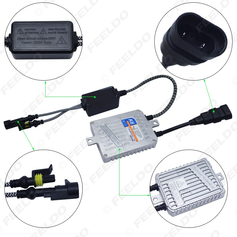 FEELDO 1 satz Auto Scheinwerfer AC 12 v 55 watt H4 HID Xenon Birne Hallo/Lo Strahl Bi xenon Lampe Licht Dünne Drossel HID Kit # AM4485 - 5