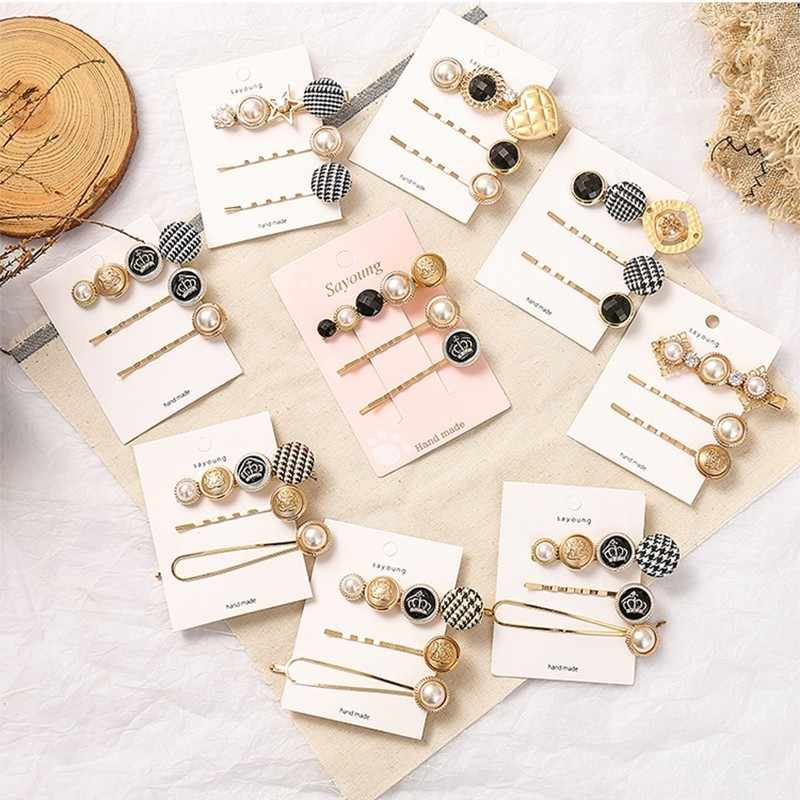 3Pcs/Set Pearl Hair Clips Gird Women Barrettes Set Korean Bobby Pins Hairgrip 2019 Headwear For Girls Accessories Dropship New