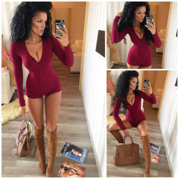 Womens Sexy V Neck Bodysuit Long Sleeve Knitted Slim One-piece Outfit 2019 Autumn Casual Wear Cotton Bodycon  Jumpsuit S-XL 3