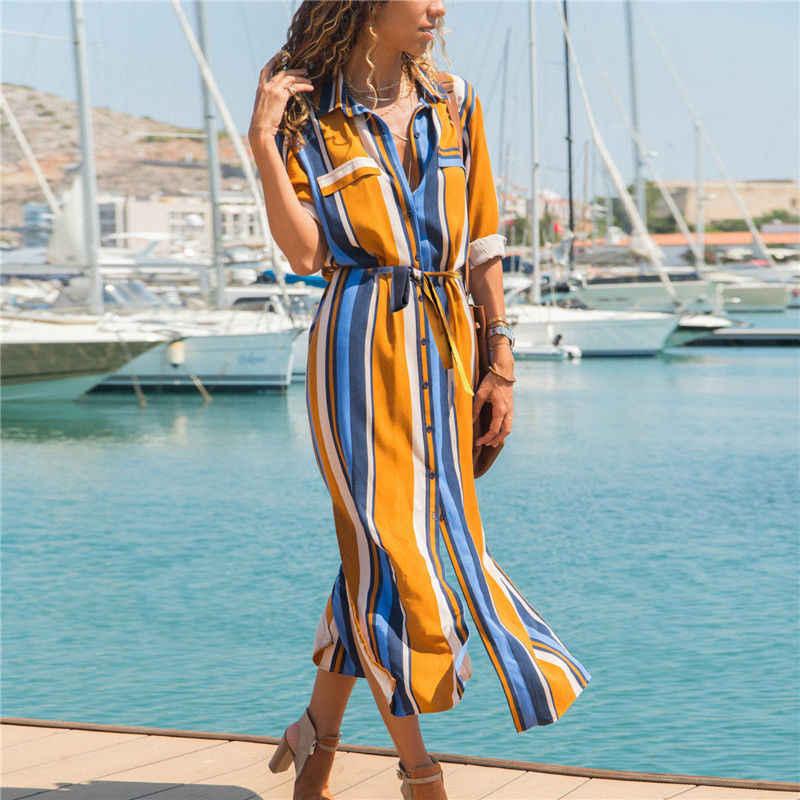 Women Dress Summer Boho Long Maxi Sundress 2019 Fashion Striped Long Sleeve  V-Neck Side b947350e729b