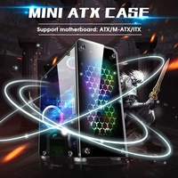 LEORY Mini ATX Computer Components PC Cases Towers Glass Panel Desktop Computer Mainframe Full side Transparent Chassis