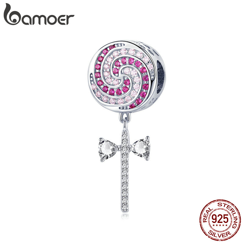 BAMOER 925 Sterling Silver Pink Zircon Sweet Lollipop Candy Pendant Charms fit for Women Bracelets Bangles DIY Jewelry SCC1136BAMOER 925 Sterling Silver Pink Zircon Sweet Lollipop Candy Pendant Charms fit for Women Bracelets Bangles DIY Jewelry SCC1136