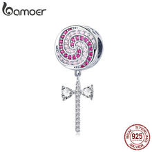 178b24e320c4 BAMOER 925 de plata esterlina circonita Rosa dulce Lollipop Candy colgante  encantos para mujeres pulseras brazaletes de la joyer.