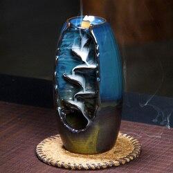 Mountain River Handicraft Incense Holder Ceramic Backflow Waterfall Smoke Incense Burner Censer Holder Mother's Gift Home Decor