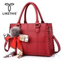 LIKETHIS Leather Handbags For Women 2019 Fashion Shoulder Bag Handbag Hairball Female Messenger Tote Bags Bolsas Sac Casual New недорго, оригинальная цена