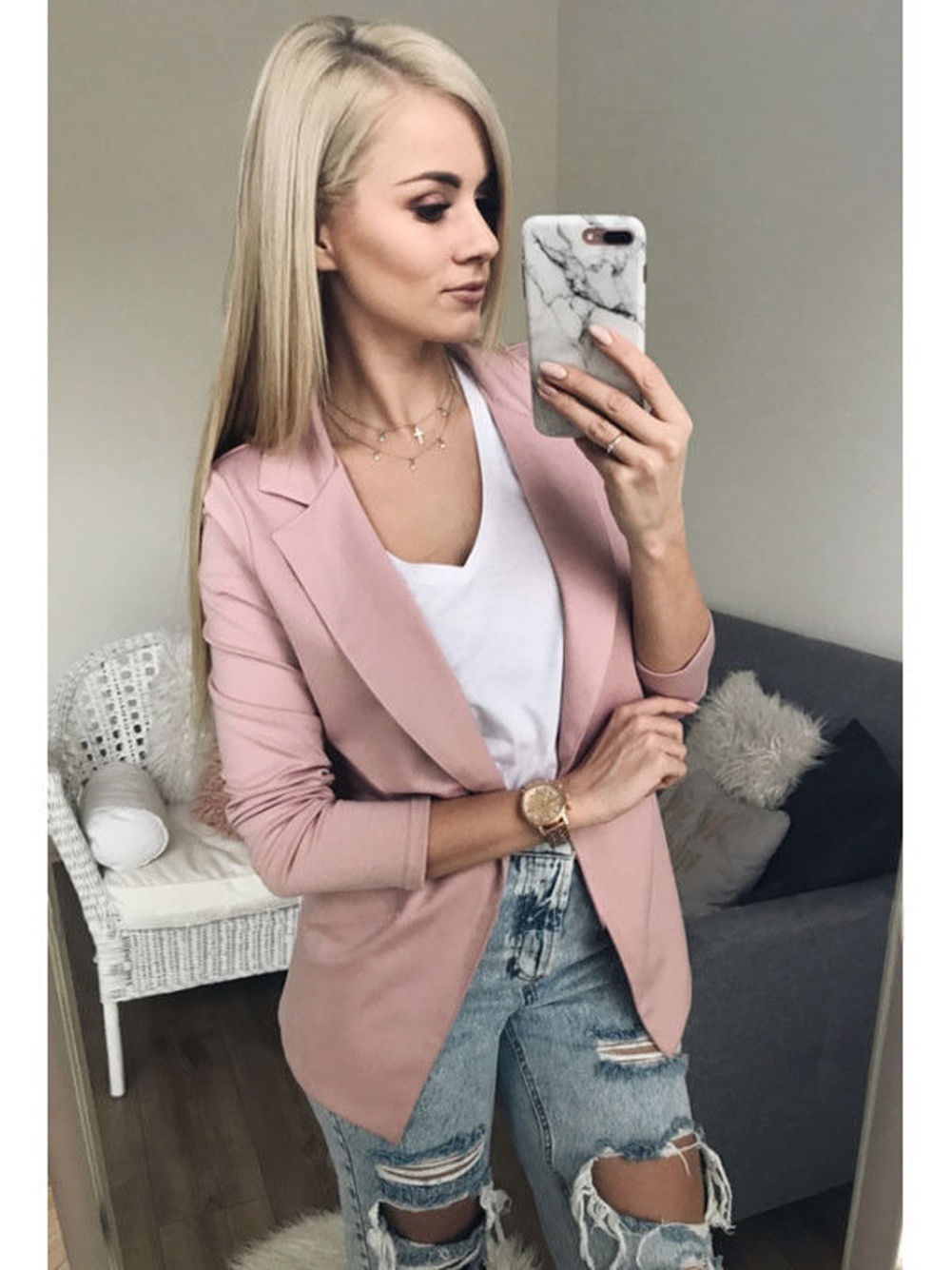Thefound 2019 New Fashion Women Casual Suit Coat Business Blazer Long Sleeve Jacket Outwear