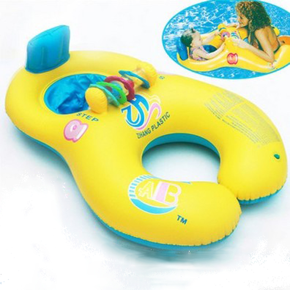 Inflatable Swim Ring Mother Baby Swim Shade Float Circle Ring Kids Seat Parent-child SBaby Neck Float Wimming Pool Accessories