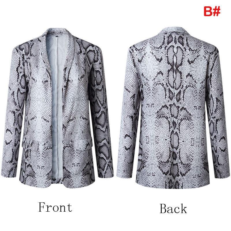 Women OL Ladies Snake Skin Printed Sexy Office Lady Formal Work Long Sleeve Slim Fit Casual Blazer Suit Jacket Coat Outwear Tops