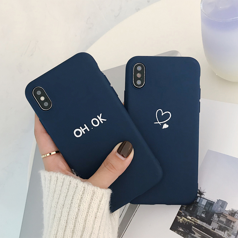 Ottwn Cartoon Heart Pattern Phone Cases Cover For iphone 7 8 6 6S Plus 5 5S SE XS Max XR X Soft Silicone Ultra-thin Back
