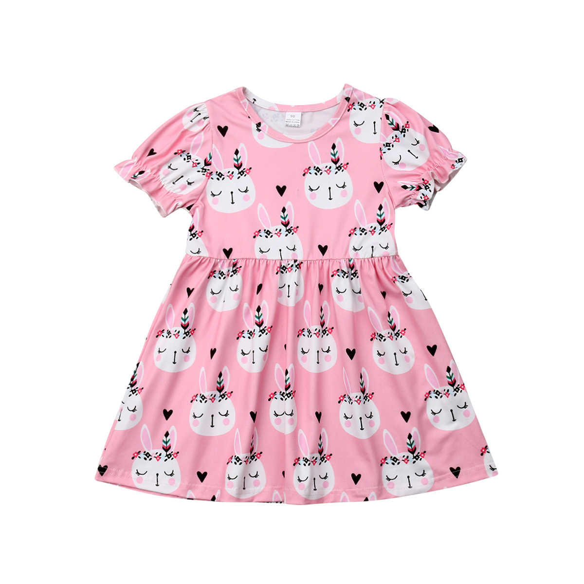 e5803d3ab72f Pudcoco 2019 Summer Pink Toddler Girls Easter Dress Princess Bunny Print  Floral Dresses Cute Clothes