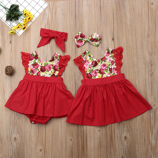 a7aae32df495 Little Girls Sister Matching Outfits Xmas Gift Toddler Baby Girl Kid Lace  Romper Dress Party Dresses Princess Clothing