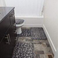 Pedras cinzentas conjuntos de tapete forma memória extra macio tapetes do banheiro conjunto 3 peça grande chuveiro forro banho tapete