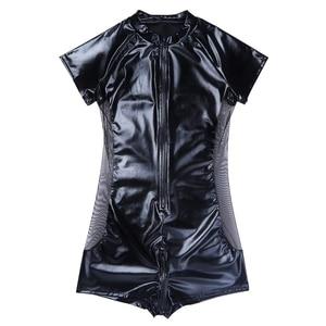 Image 5 - Wet look latex Catsuit Faux Leather Mesh Jumpsuits Sexy Lingerie Men Black Stretch PVC Bodysuits Clubwear Open Crotch Body Suit