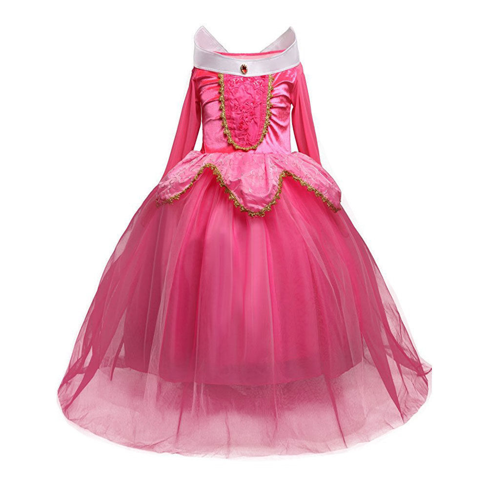 Child Princess Aurora Costume Girl Blue Pink Tulle Dress Fairy Tale Party Gown