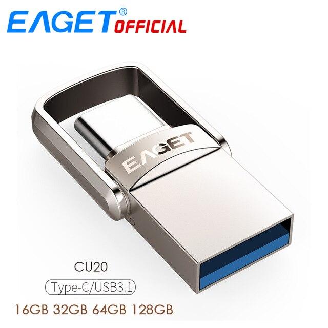 EAGET Type C USB Flash Drive 16 gb USB 3.0 Pen Drive 32 gb 64 gb 128 gb Pendrive USB stick Schijf voor Huawei voor Xiaomi Telefoon Laptops