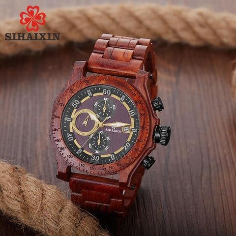 SIHAIXIN New Men Wooden Watch Waterproof Handmade Man Wood Wristwatches Quartz Movement Date Sport Male Clock erkek kol saati Karachi