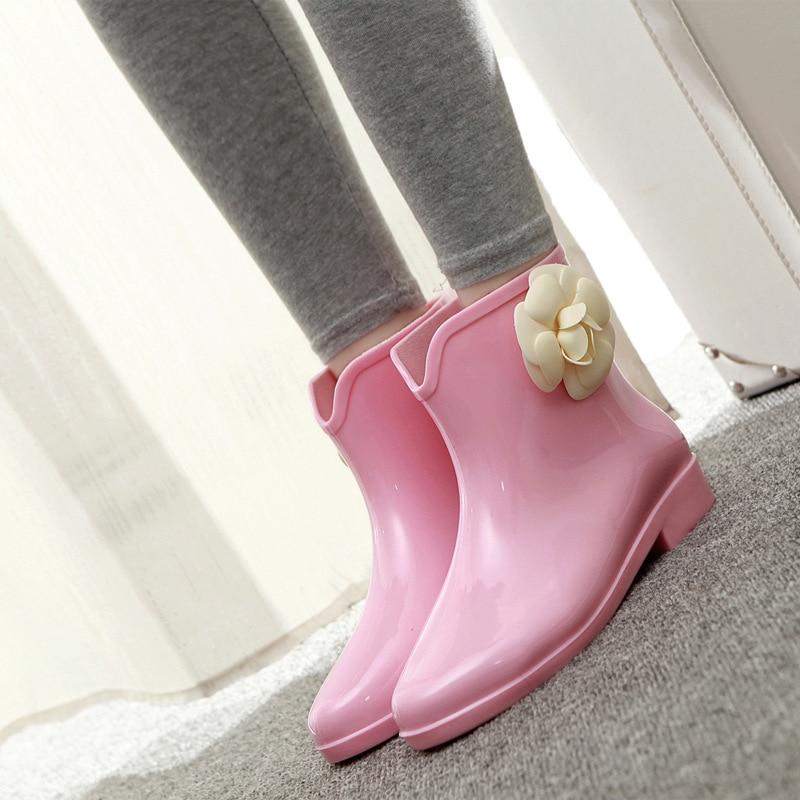 argent Chaussures Caoutchouc Bout Slip Solide Bottes De Beige Cheville slip Rainboots Faible Imperméables noir Pluie Rond rose Femmes blanc En Non on Rq6xzPxfdw